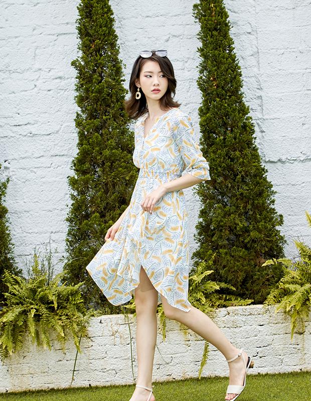 【伊霓裳】【新品福利】YNS116 夏威夷海风V领连衣裙(配吊带裙)
