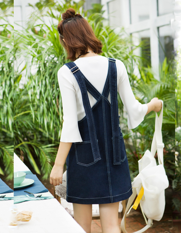 【伊霓裳】YCCQ-503 撞色绗线背带裙