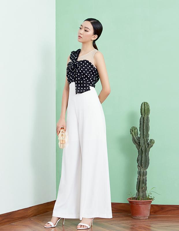 【伊霓裳】YCAB-021 波点蝴蝶结网纱连体裤