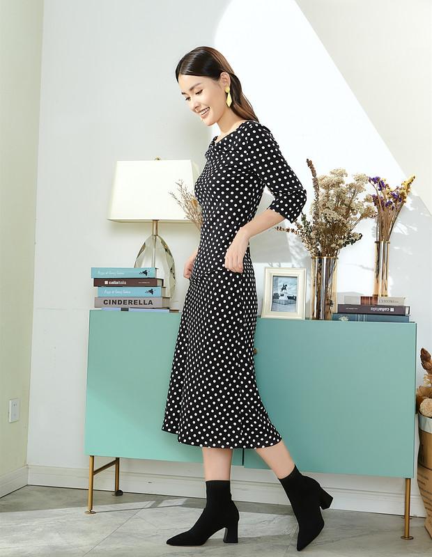 【伊霓裳】D190907-1 法式茶歇波点心机连衣裙