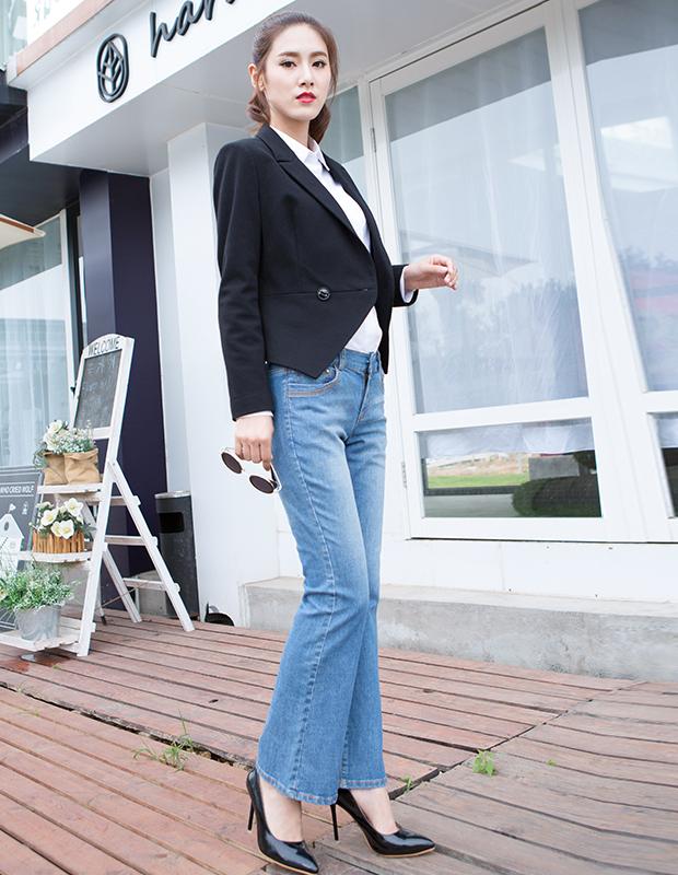 【伊霓裳】YCCW8-0035 时尚百搭牛仔喇叭裤