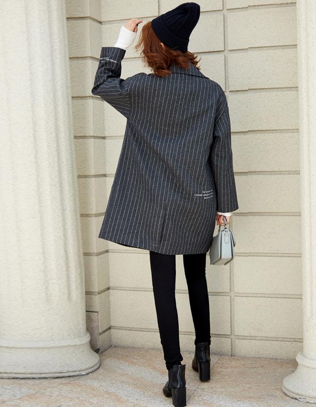 【伊霓裳】YCDQ-053 茧型条纹呢子大衣
