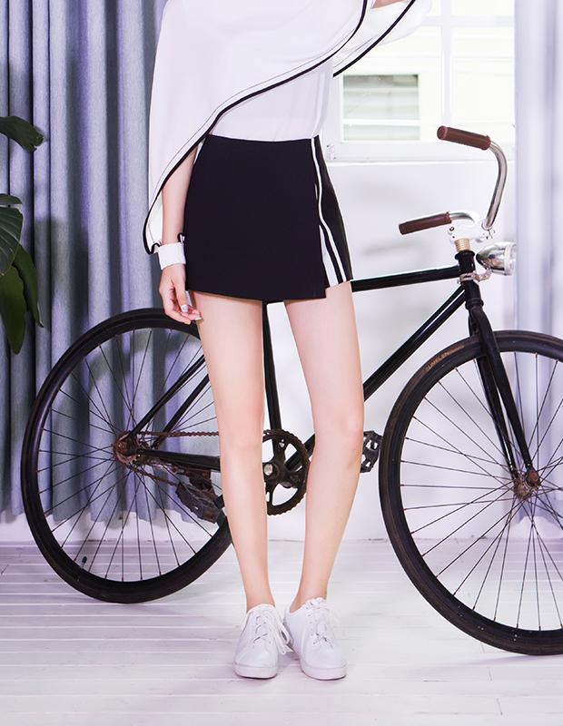 【伊霓裳】服装积分兑换 YCCQ-022 不规则撞色织带裤裙
