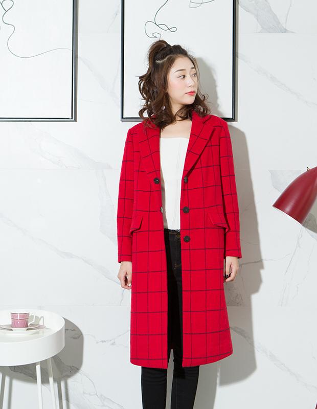 【伊霓裳】YCDL10-523 极简方格纹呢长大衣